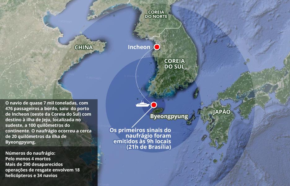 mapa do naufrágio - Coreia do Sul